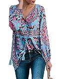 Eytino Women Casual Boho Floral Print V Neck Long Sleeve Drawstring Blouse Tops,Medium Sky Blue