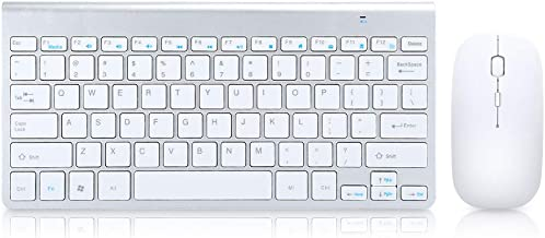 2.4G Bluetooth Wireless Keyboard Mouse Combo,Life Waterproof dirtyproof Designs, for Desktop Laptop Computer(Silver Gray)(...