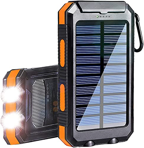 Solar Charger, 20000mAh Portable Waterproof Power Bank,Outdoor Camping External Backup Battery Pack,Panel Charger Dual USB 5V Outputs 2 LED Light Flashlights with Compass