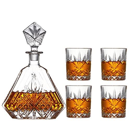 Decantador de Vidrio Cuadrado Decantador de Whisky Cristalería de Cristal Decantador de Licor de Vidrio, Decantador Tallado para Whisky Brandy Vodka,B
