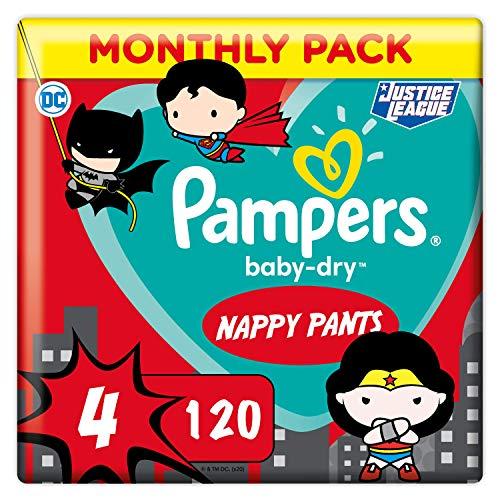 Pampers - Pannolini per mutandine, taglia 4, 9-14 kg, Baby Dry Pants Edition, confezione Familial, 120 pezzi