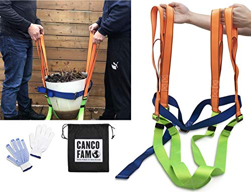 CancoFam Plant Pot Mover – Garden Lifting Dolly Tool - 2 Person Straps for Heavy Flower Pots, Planters, Trees, Rocks, Landscaping, Yard Work - Avoid Back Strain – Comes with Drawstring Bag and Gloves
