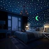 Hiveseen Pegatinas de Pared, 402 PCS Luminous Estrellas Puntos Pegatinas de Pared para la decoración de la sala de estar del dormitorio de los niños (A)