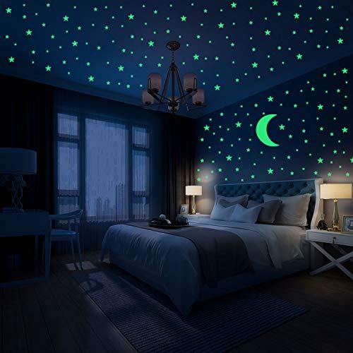 Hiveseen Glow in the Dark Stickers muraux, 402 PCS étoiles lumineuses et autocollant de lune pour la chambre des enfants, illuminez votre décoration de plafond et de salon (A)