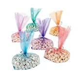 Fun Express Rainbow Cellophane Bag Assortment - Bulk Set of 72 in Bright Colors - Party Supplies, Gift Bags, Candy Wraps, Easter Bags and More