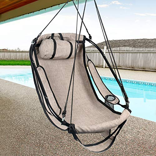 Bathonly Hammock Air Chair with Metal Bar Frame, Sky Hanging Chair with Plush & Supportive Pillow & Side Pouch, Footrest and Armrest Indoor/Outdoor 330 Lbs - Beige