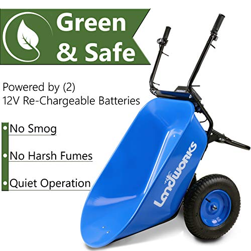 Landworks Wheelbarrow Utility Cart Electric Powered 24V DC 180W AGM Battery 330lbs (150kgs) Max Capacity Barrel Dump Material Debris Hauler