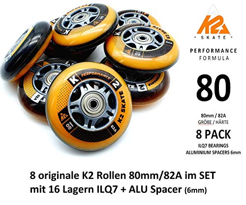 K2 Performance Formula Skate Rollen 8 STÜCK 80mm/82A + ILQ7 + ALU Spacer (SET-3053010.1.1.80mm)