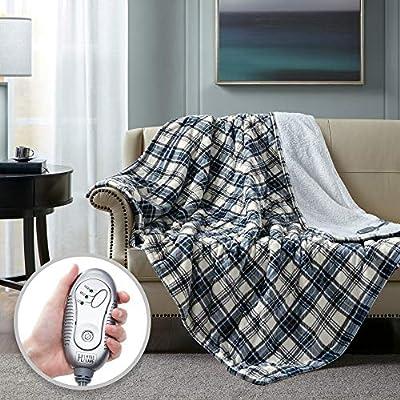 Hyde Lane Sherpa Heated Blanket - Plaid Blue | Luxury 60x70 Oversized Plush Therapedic Electric Throw | Extra Cozy & Soft | 3 Heat Settings | Automatic - Shut Off | Machine Washable from Hyde Lane