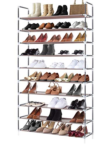 Sable Shoe Rack,10-Tier Shoe Standing Storage for 50 Pairs of Shoes, Tall Shoe Organiser with Waterproof Fabric Tiers, 175 x 100 x 27 cm