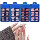 Laza 400Pcs Coffin Fake Nails Tips Matte Multi-Color Long Ballerina Full Cover Press on False Nail Art 10 Size Acrylic Artificial Nails with Case for Women Girls Nail Salons and DIY - Lotus Pink