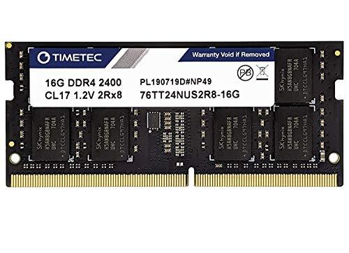 Timetec 16GB DDR4 2400MHz PC4-19200 Non-ECC Unbuffered 1.2V CL17 2Rx8 Dual Rank 260 Pin SODIMM Laptop Notebook PC Computer Memory RAM Module Upgrade (16GB)