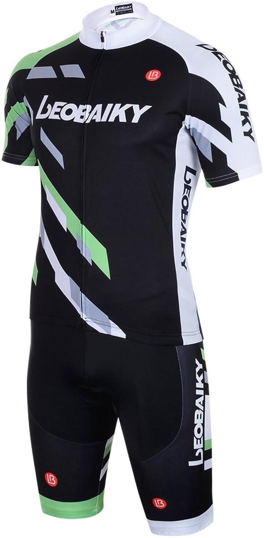 LEOBAIKY ShortSleeved Cycling Jersey Biking Shirts Short Full Zip with 3D Silicone Cushion