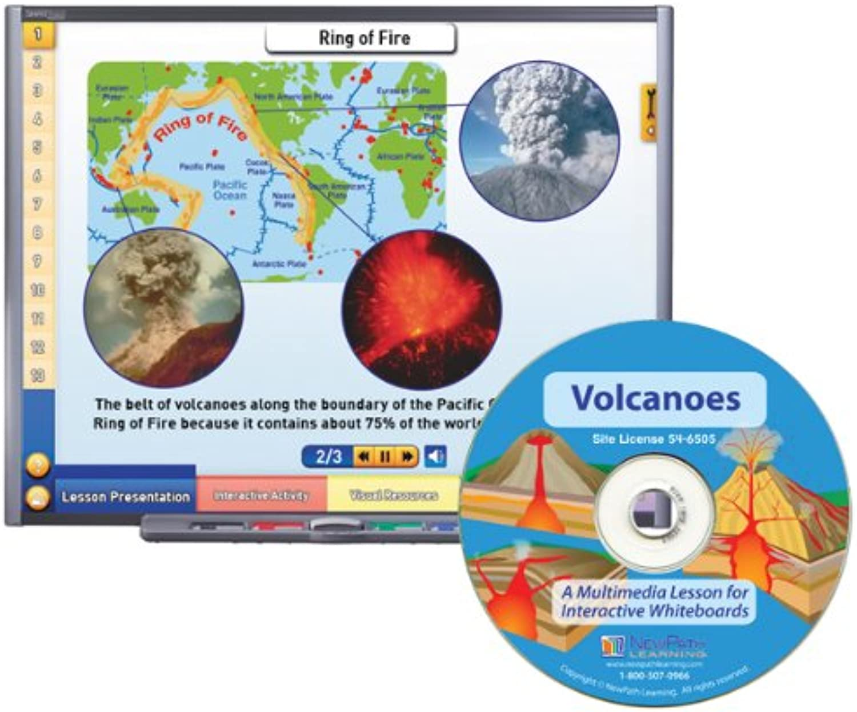 NewPath Learning Volcanoes Multimedia Lesson, Site License Single Building, Grade 6-10