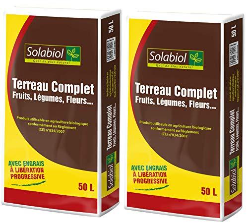 SOLABIOL TERCOMP50 TERREAU Complet 2x50 L | Jusquà 5 Mois de Nutrition, Utilisable en Agriculture Biologique