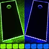 GlowCity Light Up Ultimate Cornhole Kit (Actual Boards Not Included) Includes 4 Light Up Green and Blue Bags-Plus Green and Blue Cornhole Board Lighting Kits