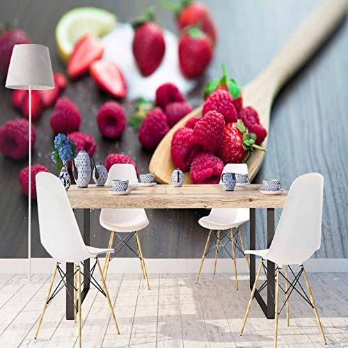 Pbbzl lepel van hout, grijs op fruit en framboos met 3D-print, afwasbaar, wanddecoratie 280x200cm