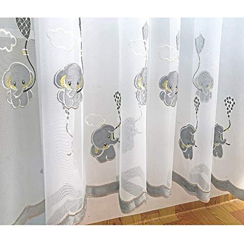 Chambre Des Enfants Animal Rideaux Voilage L'éléphant Modèle Rideaux Voile À Oeillets 2 Panneaux Pour Chambre Enfant Salon,W140xL245cm