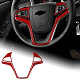 AIRSPEED Car Steering Wheel Button Sticker Carbon Fiber Interior Trim Decal Compatible with Chevrolet Camaro 2013-2015 Accessories (Red)