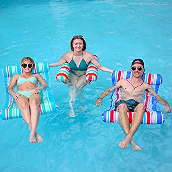 3 Pack Inflatable Pool Float Hammock Water Hammock Lounges Multi-Purpose Swimming Pool Accessories  Saddle Lounge Chair Hammock Drifter  for Pool Lake Outdoor Beach  Blue Red Green