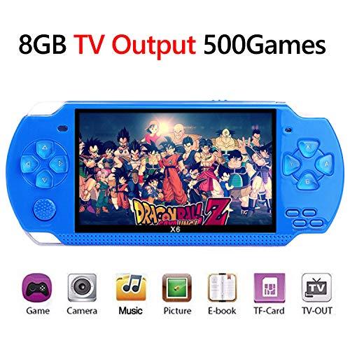 MERIT OCEAN X6 PSP 128Bits Console per Videogiochi Portatile, Retro Console per Videogiochi con 650 Giochi da 4.3 Pollici Retro FC Game Player per Bambini Genitori Amici (Blu)