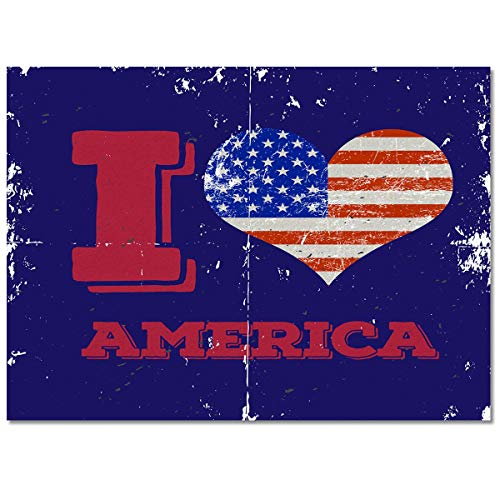Alfombra Rectangular de área Grande, I Love American Retro Bandera Americana Fieltro Alfombra de área de Perfil bajo 40x60cm