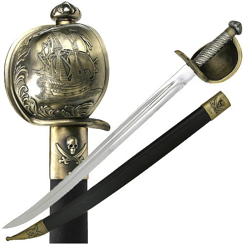 Ace Martial Arts Supply Pirate of Caribbean Cutlass Sword with Basket Guard