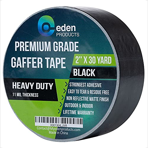 """Professional Grade Gaffer Tape 2"""" X 30 Yards by EdenProducts, Strongest On The Market, Residue Free, Heavy Duty Non-Reflective Matte Finish Cloth Gaff Tape, Multipurpose – Black"""