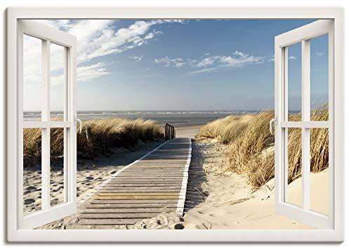 Artland Leinwandbild Wandbild Bild auf Leinwand 100x70 cm Wanddeko Fensterblick Fenster Strand Meer Maritim Düne Leuchtturm Nordsee Langeoog T5RQ