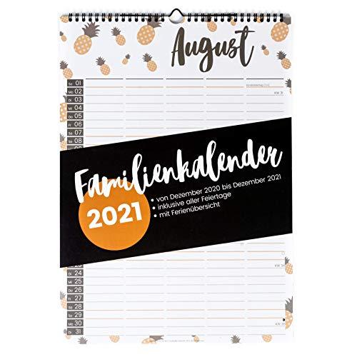 XXL Familienplaner 2021 (Wandkalender A3 mit 5 Spalten) - Familienkalender mit fünf Spalten - Familien Kalender zum Aufhängen an der Wand (Jahreskalender 2021) - bunte Farben