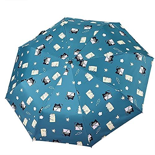Eco Memos Paraguas plegable a prueba de viento con revestimiento de teflón para mujeres y niños, paraguas duradero y automático abierto/cierre - -