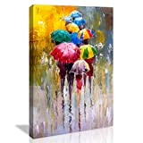 chengjing Wall Art for Bathroom Bedroom Decor People in Rain Colorful Oil Painting Print on Canvas Picture Poster Wall Art Decoration Stretched and Framed Painting