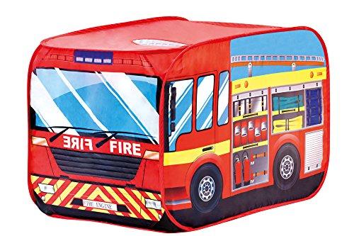 Bino Spielzelt Feuerwehrauto, Zelt für Kinder ab 3 Jahre, Kinderspielzeug (Kinderzelt in Feuerwehrauto Design & Form, drinnen & draußen nutzbar, leichter Auf-und Abbau, Kinderzimmer Zubehör), Rot