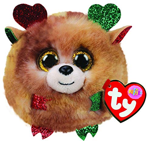 Ty Puffies- Fudge the Reindeer - super cute plush puff balls. They always land on their feet! Collect them all!