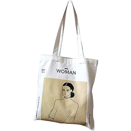 anaan Woman Bolsa al hombro de 100% algodón con Asas reutilizable y ecológica Pintura Lienzo impreso estampado Lona Bolsos Totes Shopper con bolsillo interior Color Natural