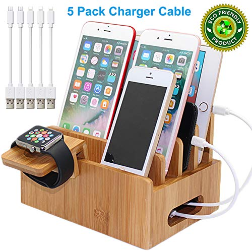Pezin & Hulin Bamboo Charging Stations for Multiple Devices, Desk Docking Station Organizer for Cell Phones, Tablet, Watch Stand (Includes 5 Cables BUT NO Power Supply Charger)