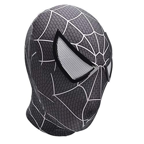 MODRYER Niños Spiderman Headgear Remy Tony Cosplay Máscara Lycra Elástica Cara Completa Capucha Adulto 3D Accesorios para Carnaval, Black-Adults