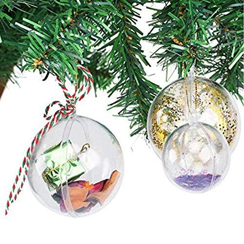 Uten 20x Christmas Tree Baubles Decorations Clear Round Glass Fillable Plastic Craft Balls Ornaments (5cm)