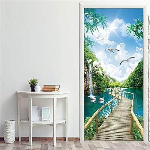 Etiqueta engomada de la puerta del patrón del paisaje 3D papel pintado impermeable autoadhesivo para la decoración de la puerta del dormitorio de la sala de estar calcomanías de arte A11 86x200cm