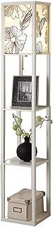 Lámpara de pie Lámpara de pie de Madera Blanca Moderna de la Tela de la iluminación Interior 1.6m del Chino con Las Unidades incorporadas de la estantería para el Dormitorio y la Sala