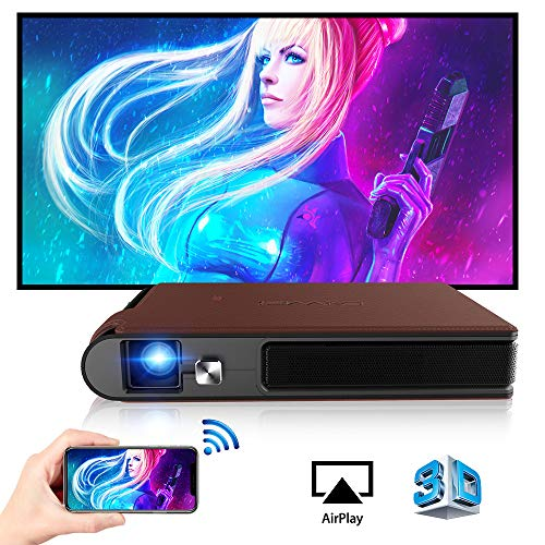Mini DLP Wireless Pico Projector, 3D Portable WiFi Projector with Rechargeable Battery Auto Keystone/HDMI/USB, Compatible with iPhone, Android, Laptop for Home Theater, Outdoor Movies