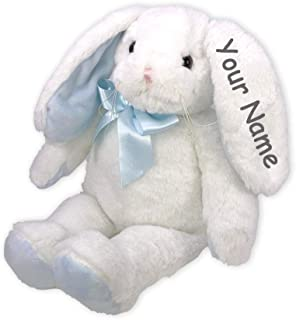 Bearington Collection Personalized Floppy Longears Blue and White Sitting Easter Bunny Plush Stuffed Animal Toy with Custom Name - 16 Inches