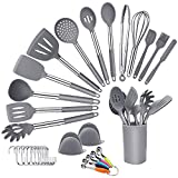 Juego de utensilios de cocina de silicona,33 + 1 piezas Utensilios de cocina de silicona con pinzas,...