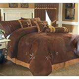 Western Peak Embroidery Printed Texas Western Star Luxury Comforter Suede 7 Pieces Set King Brown