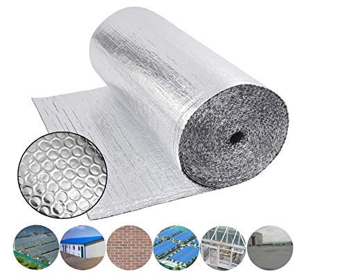 Dripex Double Aluminium Bubble Foil Insulation Loft Wall Boat Loft Caravan Home Wall Shed - Various Size (1m x 45m(45㎡))
