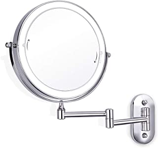 Wall Mounted Makeup Mirror Led Touch Screen Adjustable Light Double Sided Magnifying Vanity Swivel Extendable 360° Extending Folding Hotel Battery Operated