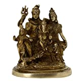 Shiva and Parvati with Family Brass Statue Indian Religious Gift H: 6 Inches, Wt: 1.4 Kg