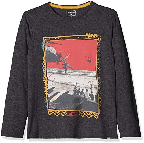 Quiksilver D- Day Camiseta, Niños, Gris (Dark Grey Heather KRPH), (Tamaño del Fabricante:S/10)