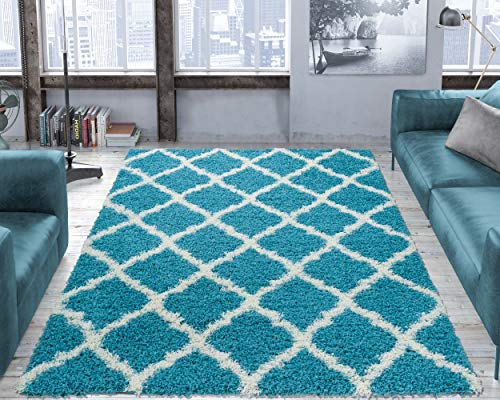 "Ottomanson Ultimate Shaggy Collection Moroccan Trellis Design Shag Rug Contemporary Bedroom Soft Shaggy Area Rug Kids Rugs, Turquoise Blue, 39"" L x 55"" W"