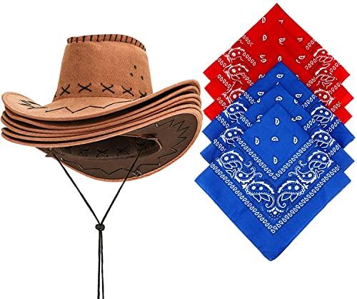 Carnavalife Sombrero Cowboy de Vaquero con Pañuelo Bandanas Paisley de Algodón Toy Story Western Disfraz para Adulto(6 sombreros➕6 pañuelos